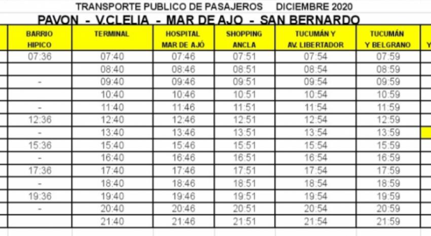 Paraje Pavón: Nuevos horarios de circulación del servicio de transpo